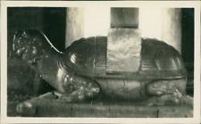 China, Peking, Large long Life Tortoise of Ming Tombs  Vintage silver print. Bei