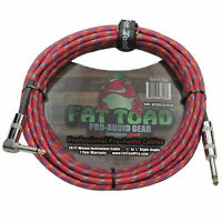 Guitar Cable Tweed Cloth Woven Jacket FAT TOAD Right Angle Wires Instrument Cord