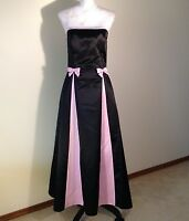 80's JESSICA McCLINTOCK GUNNE SAX FORMAL DRESS BLACK PINK BOWS SATIN PROM SZ 7/8