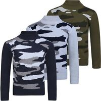 Kids Camouflage Knitted Jumper Boys Pullover Long Sleeve Sweater Top 3-12 Years