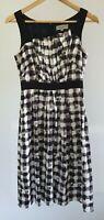 Veronika Maine Womens Size 8 Black & White Plaid Corporate Pleated A-Line Dress