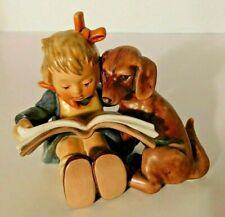 New ListingGoebel Hummel Proud Moments Figurine Girl Reading with Puppy 3800 Tmk-8 Mint