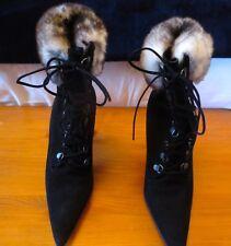 Manolo Blahnik OKLAMOD Ankle Boots with Fur Size EU 37.5 (UK 4,5)