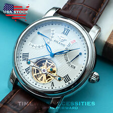 Mens Date Day Silver White Automatic Mechanical Watch Brown Leather Deployant