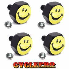 4 Black Hex Billet Alum Motorcycle License Plate Frame Tag Bolts SMILEY FACE FF