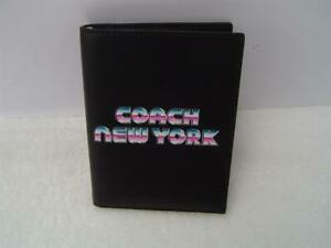 NEW AUTHENTIC COACH BLACK LEATHER PASSPORT CASE WITH 80'S LETTERING #C3750