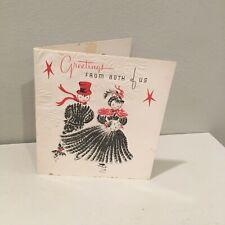Vintage Yarn Doll Christmas Happy New Year Card Ice Skating Cardinal Creation