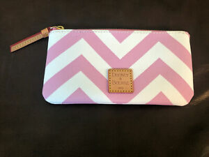 Dooney&Bourke Small PouchPink White Chevron Makeup Or Sunglasses Case