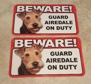 BEWARE Guard Dog on Duty Sign - Airedale Plastic Sign Lot of 2