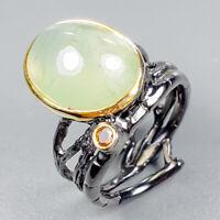 Vintage Natural Prehnite 925 Sterling Silver Ring Size 8/R123476