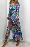 John Zack Wrap Over Maxi Dress  Long Floral Patchwork Boho Holiday