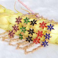 Colorful Austrian Crystal Flower 18K Gold Plated fashion Charm Bracelet Bangle