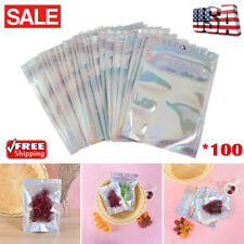 100Pcs Clear Holographic Laser Seal Bags Eyelashes Package Storage Pouch Healthy
