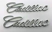 "PAIR CADILLAC CHROME SCRIPT EMBLEMS NEW 5.5"" X 1.5"""