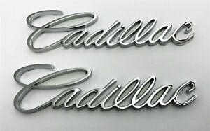 """PAIR CADILLAC CHROME SCRIPT EMBLEMS NEW 5.5"""" X 1.5"""""""