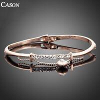 Fashion Women Love Heart Charm Bangle 18K Rose Gold Austrian Crystal Bracelet