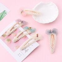 Women Elegant Fashion Pearl Hair Clip Snap Barrette Hairpin Hair  Accessories