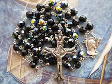 Vintage Large Faceted Fired Peacock Blue Black Silver Beads Rosary-Fatima 23""