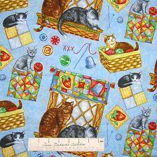 Pet Fabric - Purrfect Notions Cats Buttons Quilts Blue - RJR Dan Morris YARD