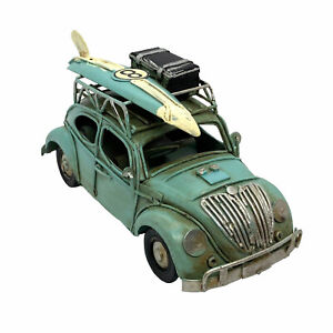 15cm Blue Tin Bug with surfboard and Luggage - Vintage Style Metal Surf Car