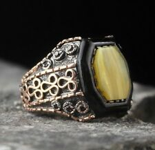 925 Sterling Silver Turkish Handmade Yellow Amber stone Mens ring ALL SİZE usa 2