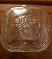 "Vintage Clear Glass Refrigerator Dish Embossed Vegetable Lid 4 1/4"" Square"