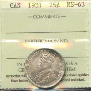 1931 Twenty-Five Cents - ICCS MS-63 Cert#XOQ547