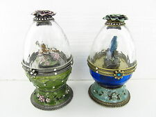 2 Crystal Egg Music Boxes with Dragonfly and Bird Key
