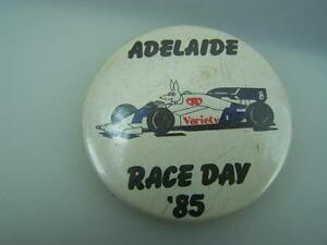 1985 pin back badge Adelaide Race Day - Australian Formula One 1 Grand prix 2213