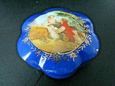 RS Prussia Reproduction Porcelain Vanity Trinket Box Victorian Lovers Blue Gold