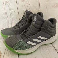 Adidas LVL 029002 boys Size 6 Gray Green Basketball Shoes Sneakers High Top