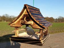 Vogelhaus Futterhaus Vogelfutterhaus Handarbeit  Holz * Woodburn - Effekt *  Neu