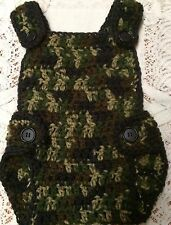Handmade Crochet Adjustable Bib Diaper Cover 3 to 9 months Classic Camo
