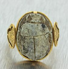 1880s Antique Victorian 18k Solid Yellow Gold Egyptian Revival Scarab Ring