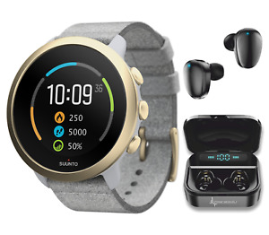 Suunto 3 Multisport Pebble White Light Gold Watch with EarBuds Power Bundle