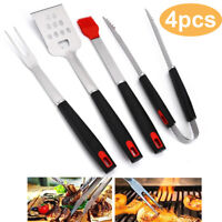 4pcs Stainless Steel BBQ Grilling Utensil Tool Set, Heavy Duty Grill Accessories