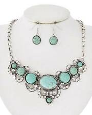 VICTORIAN STYLE TURQUOISE STONE STUD CLEAR CRYSTAL SILVER TONE NECKLACE EARRING