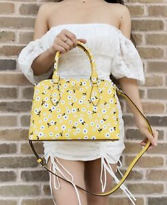 Kate Spade Darcy Fleurette Floral Small Top Zip Satchel Crossbody Yellow White