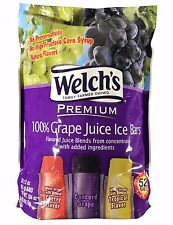 Welch's Premium 100% Grape Juice Ice Bars 6.5 LB Pack 2oz-52 Bars
