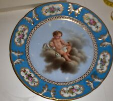Antique French Paris  Porcelain Putti Cherub  Bleu Celeste  Plate  Sevres Style