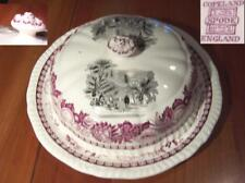 Copeland Spode Black and Pink Red Transferware Covered Muffin or Butter Dish (s)