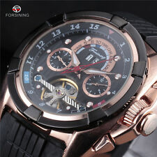 Sports Gold Steel Black Rubber Tourbillon Mens Automatic Mechanical Wrist Watch