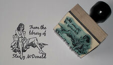 Custom Tousled Woman In Bed Ex Libris bookplate rubber stamp Amazing Arts