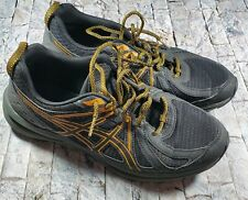 Asics Frequent Trail 1011A034 Charcoal Yellow Mens Lace-Up Athletic Shoes Size 9