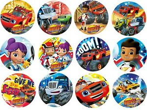 12 x 5cm Edible Blaze & The Monster Machines *PRECUT* Icing Cupcake Toppers