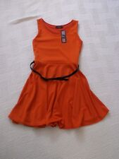 BNWT   Rare  size  S / M    ORANGE  SILKY  JERSEY  MINI  DRESS   fitted at waist
