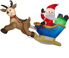 Christmas Airblown Inflatable 6' W x 4' H Flying Santa And Reindeer