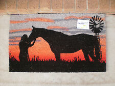 Lady & Horse - Natural Coir on PVC Backing Door Mat or Wall Art