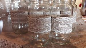 6 Rustic Wedding Table Centrepiece Jars  with ivory lace & Hessian Band