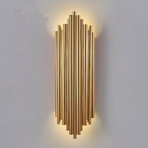 Art Deco style Wall Light Lamp Gold Brass Tubes Church Pipes Uplight & Downlight